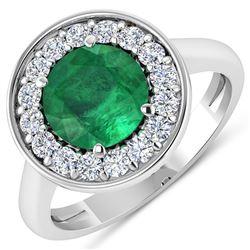 Natural 2.38 CTW Zambian Emerald & Diamond Ring 14K White Gold - REF-108N7R