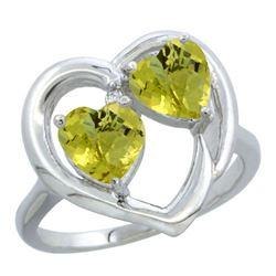 2.60 CTW Lemon Quartz & Diamond Ring 10K White Gold - REF-23M2K