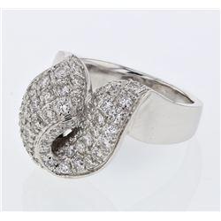Natural 1.34 CTW Diamond Ring 18K White Gold - REF-265N5Y