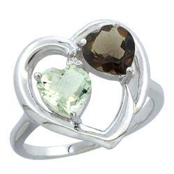 2.61 CTW Diamond, Amethyst & Quartz Ring 14K White Gold - REF-33F9N
