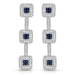 Natural 1.94 CTW Sapphire & Diamond Earrings 14K White Gold - REF-141N3Y