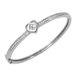 Natural 0.66 CTW Diamond & Princess Diamond Bangle 18K White Gold - REF-229T5X