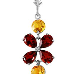 Genuine 3.15 ctw Garnet & Citrine Necklace 14KT White Gold - REF-30Z3N