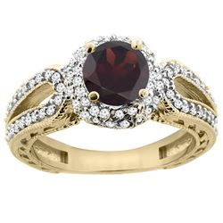 1.51 CTW Garnet & Diamond Ring 14K Yellow Gold - REF-87W2F
