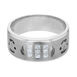 Natural 0.36 CTW Princess Diamond Ring 14K White Gold - REF-96W3H