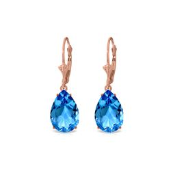 Genuine 13 ctw Blue Topaz Earrings 14KT Rose Gold - REF-48K4V