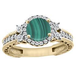 1.46 CTW Malachite & Diamond Ring 14K Yellow Gold - REF-76N9Y