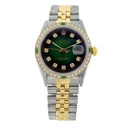 Rolex Pre-owned 36mm Mens Green Vigenette Two Tone