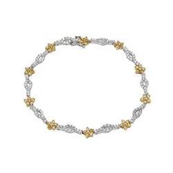 Natural 2.46 CTW Diamond & Yellow Round Diamond Bracelet 14K Two Tone Yellow Gold - REF-172T8X
