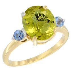 2.64 CTW Lemon Quartz & Blue Sapphire Ring 14K Yellow Gold - REF-31W4F