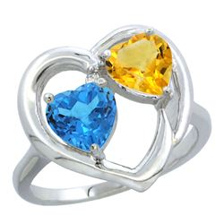 2.61 CTW Diamond, Swiss Blue Topaz & Citrine Ring 14K White Gold - REF-33W9F
