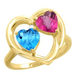 2.61 CTW Diamond, Swiss Blue Topaz & Pink Topaz Ring 14K Yellow Gold - REF-33M9A