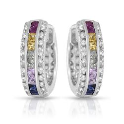 Natural 2.89 CTW Multi-Sapphire & Diamond Earrings 14K White Gold - REF-118K8R