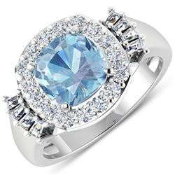 Natural 2.43 CTW Aquamarine & Diamond Ring 14K White Gold - REF-96K3W
