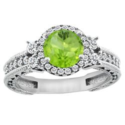 1.46 CTW Peridot & Diamond Ring 14K White Gold - REF-77K8W