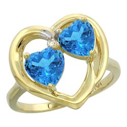2.60 CTW Swiss Blue Topaz Ring 14K Yellow Gold - REF-33N9Y