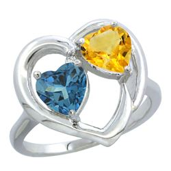 2.61 CTW Diamond, London Blue Topaz & Citrine Ring 14K White Gold - REF-34Y2V