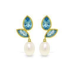 Genuine 16 ctw Blue Topaz Earrings 14KT Yellow Gold - REF-42W2Y