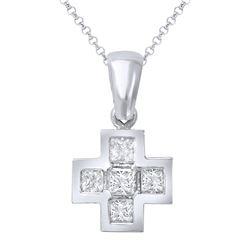 Natural 0.81 CTW Princess Diamond Necklace 18K Gold - REF-99F9M