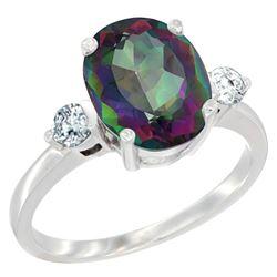 2.60 CTW Mystic Topaz & Diamond Ring 10K White Gold - REF-62A2X