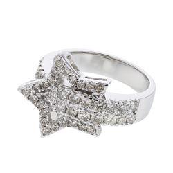 Natural 0.83 CTW Diamond Ring 18K White Gold - REF-146F7M