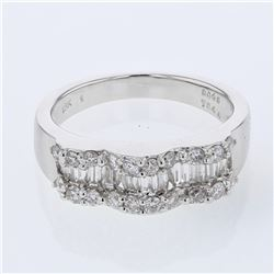 Natural 0.89 CTW Diamond & Baguette Ring 18K White Gold - REF-134N3Y