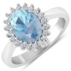 Natural 2.29 CTW Aquamarine & Diamond Ring 14K White Gold - REF-45W2X