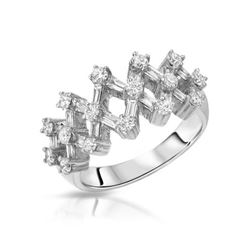 Natural 1.14 CTW Diamond & Baguette Ring 18K White Gold - REF-166W5H