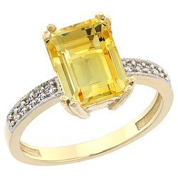 3.70 CTW Citrine & Diamond Ring 10K Yellow Gold - REF-32Y2V