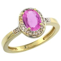 1.15 CTW Pink Sapphire & Diamond Ring 10K Yellow Gold - REF-47R2H