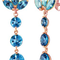 Genuine 8.7 ctw Blue Topaz Earrings 14KT Rose Gold - REF-53T6A