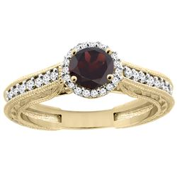 1.25 CTW Garnet & Diamond Ring 14K Yellow Gold - REF-57H5M