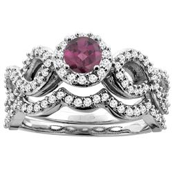 1.10 CTW Rhodolite & Diamond Ring 14K White Gold - REF-93M5K