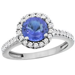 1.22 CTW Tanzanite & Diamond Ring 10K White Gold - REF-61A3X