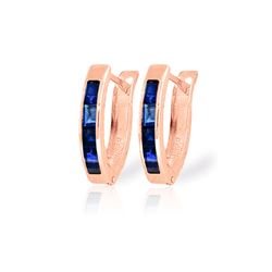Genuine 1.30 ctw Sapphire Earrings 14KT Rose Gold - REF-28N2R