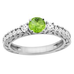 1.10 CTW Peridot & Diamond Ring 14K White Gold - REF-79H3M