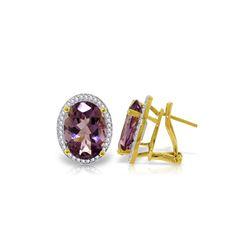 Genuine 10.56 ctw Amethyst & Diamond Earrings 14KT Yellow Gold - REF-128R3P