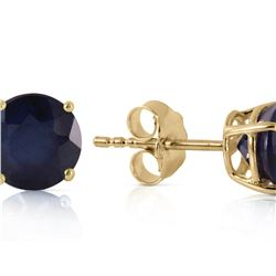 Genuine 0.95 ctw Sapphire Earrings 14KT Yellow Gold - REF-20P4H