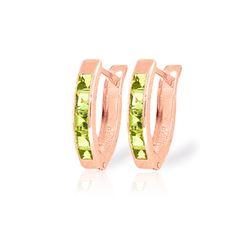Genuine 1 ctw Peridot Earrings 14KT Rose Gold - REF-24X3M
