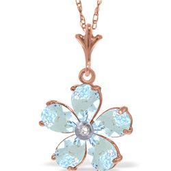 Genuine 2.22 ctw Aquamarine & Diamond Necklace 14KT Rose Gold - REF-36H3X