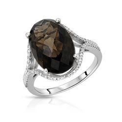 Natural 6.32 CTW Smoky Topaz & Diamond Ring 14K White Gold - REF-45K2R
