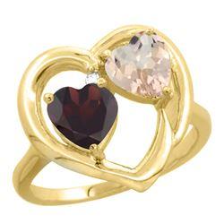 1.91 CTW Diamond, Garnet & Morganite Ring 10K Yellow Gold - REF-26M5A