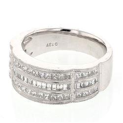 Natural 2.74 CTW Baguette & Princess Diamond Band Ring Platinum - REF-404F3M