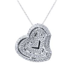 Natural 1.44 CTW Diamond Necklace 14K White Gold - REF-195W3H