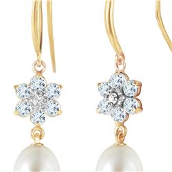 Genuine 9.01 ctw Aquamarine, Pearl & Diamond Earrings 14KT Yellow Gold - REF-45T3A