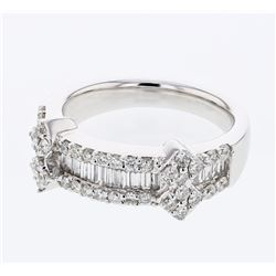Natural 0.97 CTW Diamond & Baguette Ring 18K White Gold - REF-171F2M