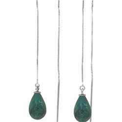 Genuine 6.6 ctw Green Sapphire Corundum Earrings 14KT White Gold - REF-20M8T