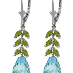 Genuine 11.20 ctw Blue Topaz & Peridot Earrings 14KT White Gold - REF-56F2Z