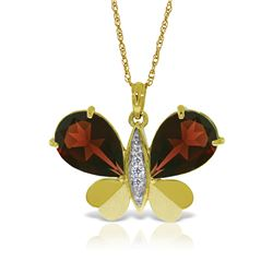 Genuine 7.1 ctw Garnet & Diamond Necklace 14KT Yellow Gold - REF-126Y5F