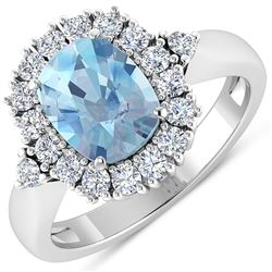 Natural 2.34 CTW Aquamarine & Diamond Ring 14K White Gold - REF-82K3W